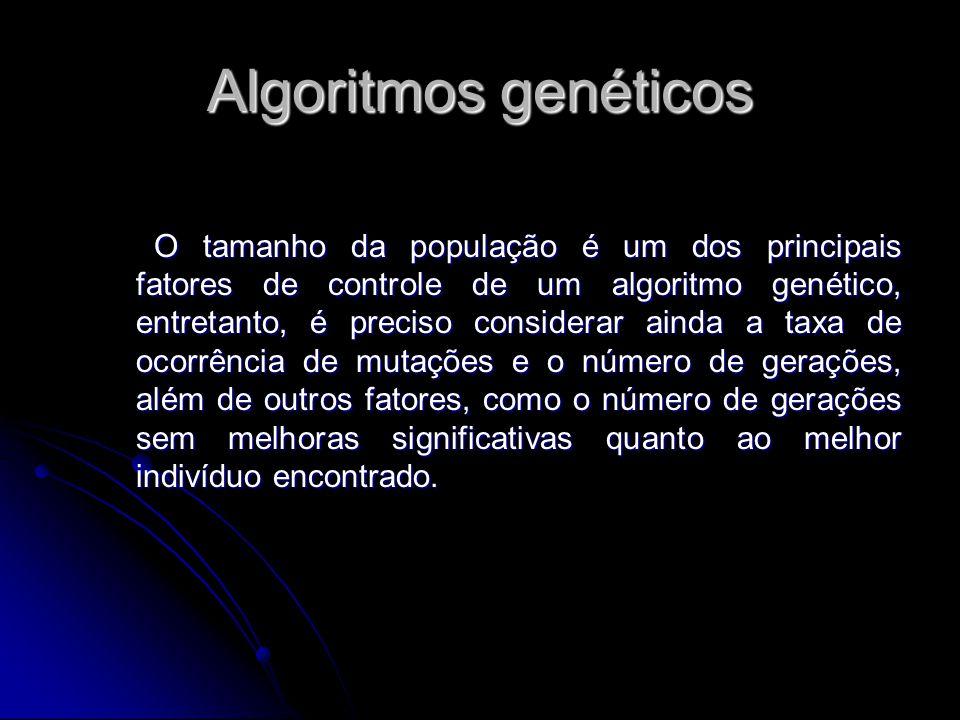 Algoritmos genéticos O tamanho da população é um dos principais fatores de controle de um algoritmo genético, entretanto, é preciso considerar ainda a