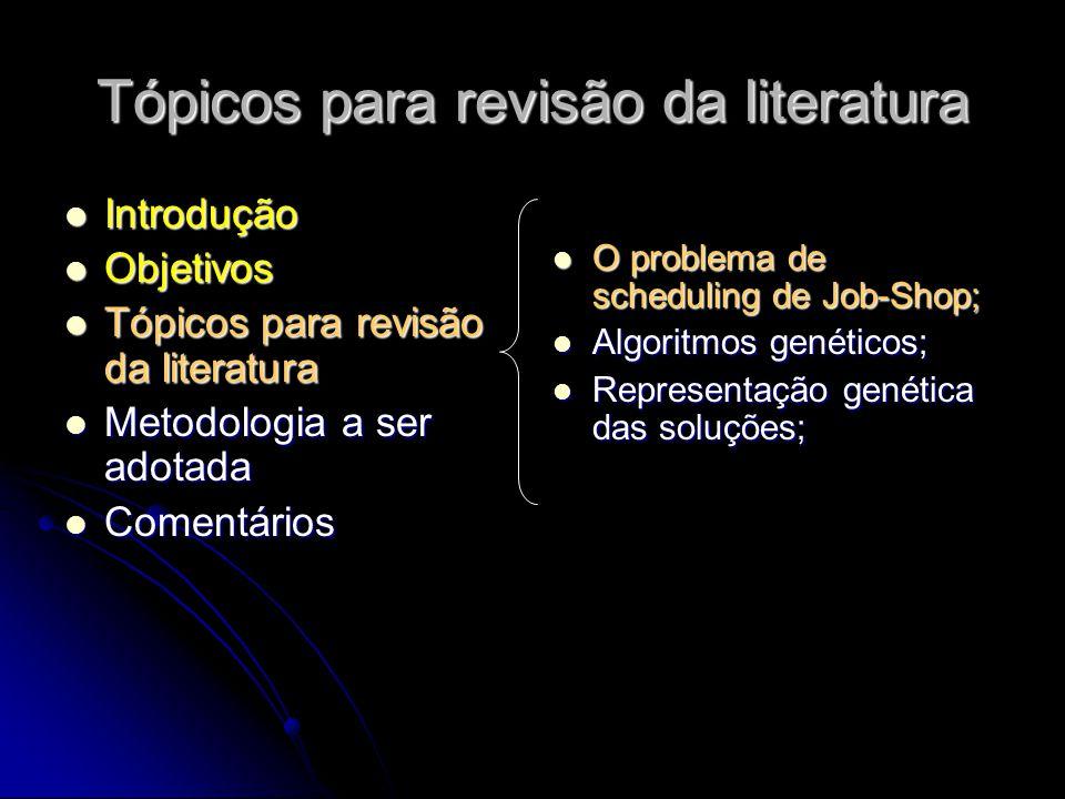 Tópicos para revisão da literatura Introdução Introdução Objetivos Objetivos Tópicos para revisão da literatura Tópicos para revisão da literatura Met