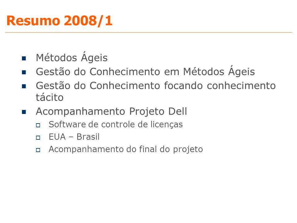 Resumo 2008/1 Métodos Ágeis Gestão do Conhecimento em Métodos Ágeis Gestão do Conhecimento focando conhecimento tácito Acompanhamento Projeto Dell  S