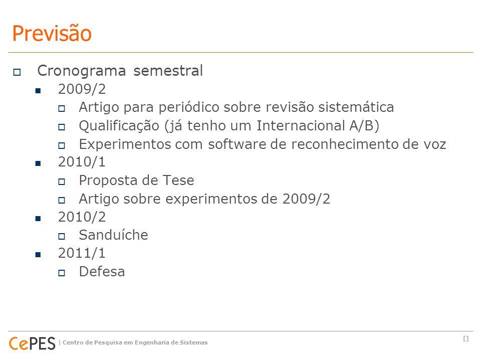  Cronograma semestral 2009/2  Artigo para periódico sobre revisão sistemática  Qualificação (já tenho um Internacional A/B)  Experimentos com soft