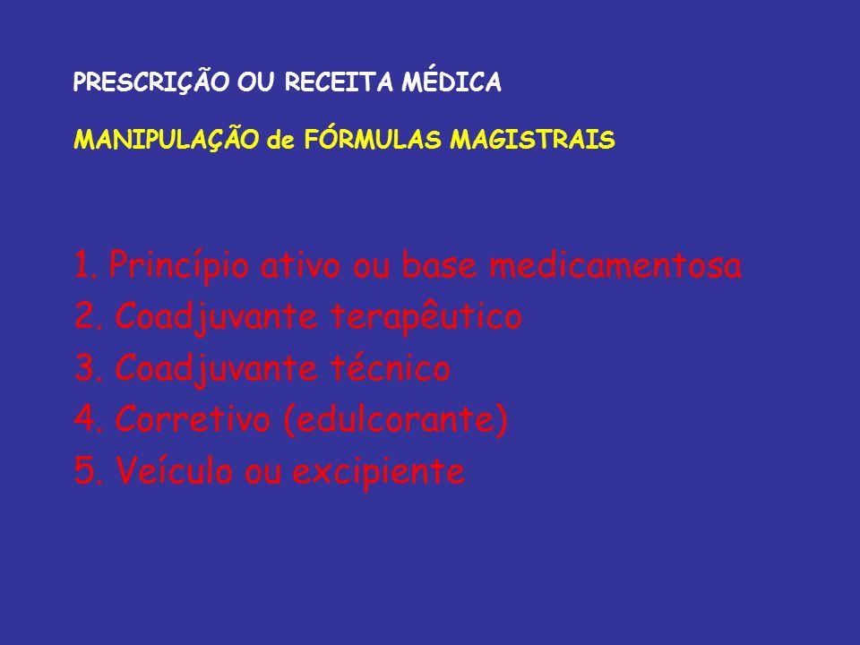 PRESCRIÇÃO OU RECEITA MÉDICA MANIPULAÇÃO de FÓRMULAS MAGISTRAIS 1. Princípio ativo ou base medicamentosa 2. Coadjuvante terapêutico 3. Coadjuvante téc