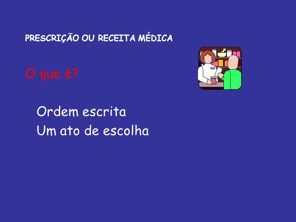 PRESCRIÇÃO OU RECEITA MÉDICA LEGISLAÇÃO BRASILEIRA Secretaria Vigilância Sanitária do Ministério da Saúde Portaria no 344 (12/5/1998) Estabelece o Regulamento Técnico sobre substâncias e medicamentos sujeitos a controle especial.