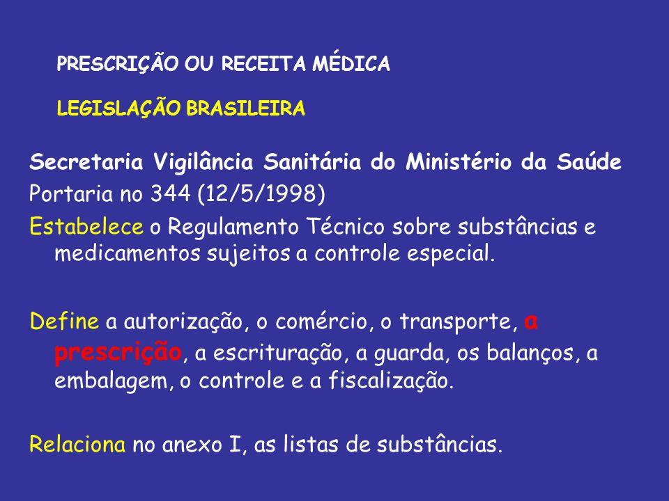 PRESCRIÇÃO OU RECEITA MÉDICA LEGISLAÇÃO BRASILEIRA Secretaria Vigilância Sanitária do Ministério da Saúde Portaria no 344 (12/5/1998) Estabelece o Reg