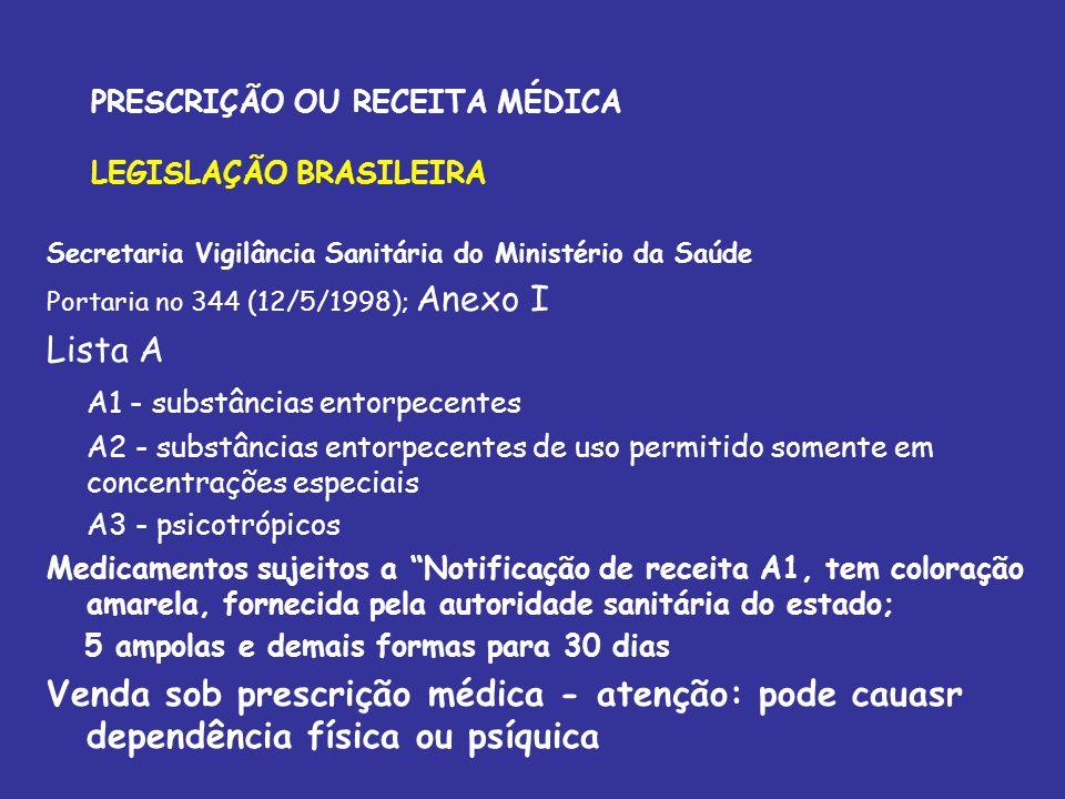 PRESCRIÇÃO OU RECEITA MÉDICA LEGISLAÇÃO BRASILEIRA Secretaria Vigilância Sanitária do Ministério da Saúde Portaria no 344 (12/5/1998); Anexo I Lista A