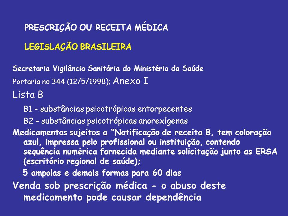 PRESCRIÇÃO OU RECEITA MÉDICA LEGISLAÇÃO BRASILEIRA Secretaria Vigilância Sanitária do Ministério da Saúde Portaria no 344 (12/5/1998); Anexo I Lista B