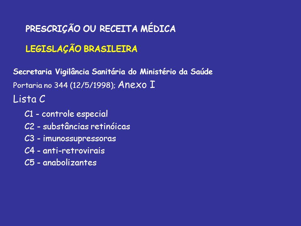 PRESCRIÇÃO OU RECEITA MÉDICA LEGISLAÇÃO BRASILEIRA Secretaria Vigilância Sanitária do Ministério da Saúde Portaria no 344 (12/5/1998); Anexo I Lista C
