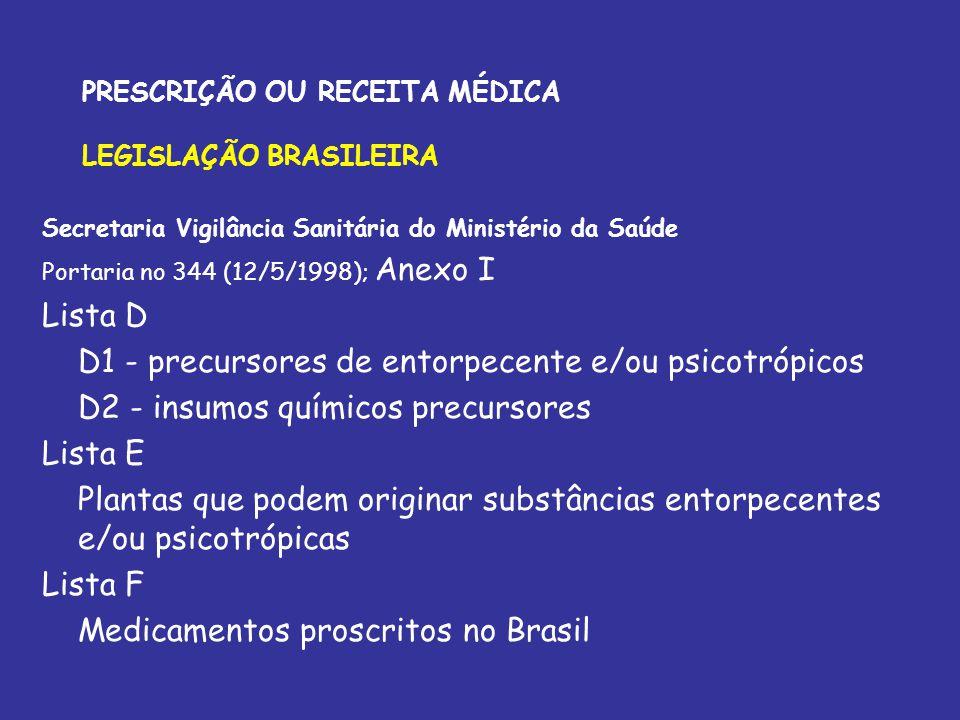 PRESCRIÇÃO OU RECEITA MÉDICA LEGISLAÇÃO BRASILEIRA Secretaria Vigilância Sanitária do Ministério da Saúde Portaria no 344 (12/5/1998); Anexo I Lista D