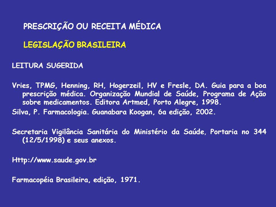 PRESCRIÇÃO OU RECEITA MÉDICA LEGISLAÇÃO BRASILEIRA LEITURA SUGERIDA Vries, TPMG, Henning, RH, Hogerzeil, HV e Fresle, DA. Guia para a boa prescrição m