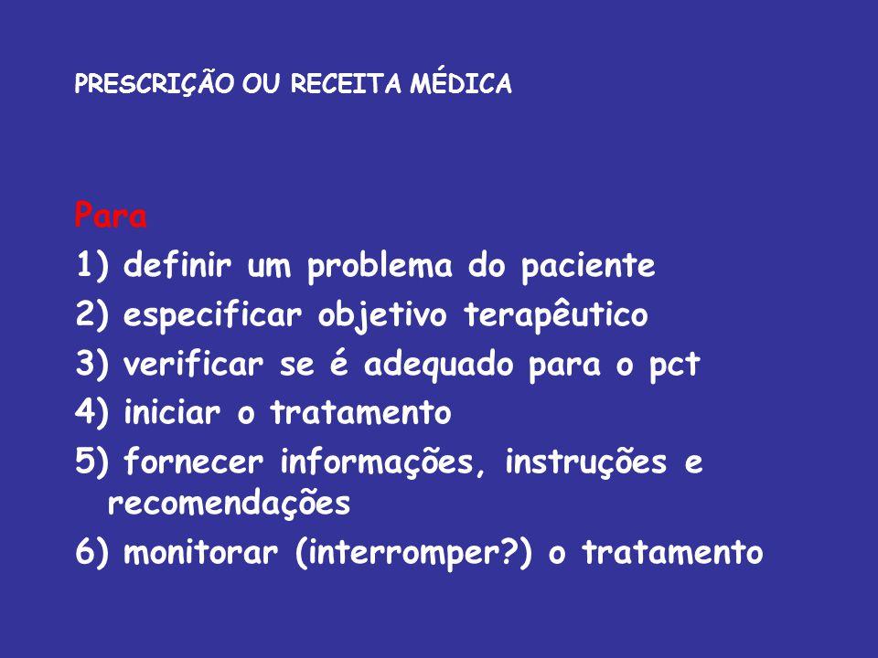 Para 1) definir um problema do paciente 2) especificar objetivo terapêutico 3) verificar se é adequado para o pct 4) iniciar o tratamento 5) fornecer