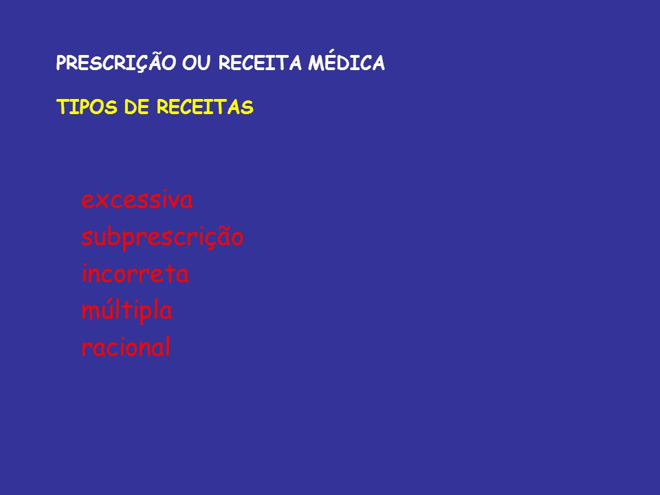 PRESCRIÇÃO OU RECEITA MÉDICA LEGISLAÇÃO BRASILEIRA Secretaria Vigilância Sanitária do Ministério da Saúde Portaria no 344 (12/5/1998); Anexo I Lista B B1 - substâncias psicotrópicas entorpecentes B2 - substâncias psicotrópicas anorexígenas Medicamentos sujeitos a Notificação de receita B, tem coloração azul, impressa pelo profissional ou instituição, contendo sequência numérica fornecida mediante solicitação junto as ERSA (escritório regional de saúde); 5 ampolas e demais formas para 60 dias Venda sob prescrição médica - o abuso deste medicamento pode causar dependência