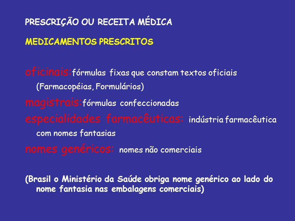 PRESCRIÇÃO OU RECEITA MÉDICA MEDICAMENTOS PRESCRITOS oficinais: fórmulas fixas que constam textos oficiais (Farmacopéias, Formulários) magistrais: fór