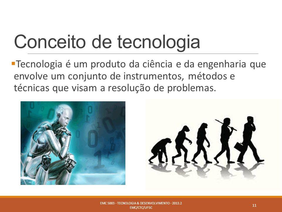 Conceito de tecnologia  Tecnologia é um produto da ciência e da engenharia que envolve um conjunto de instrumentos, métodos e técnicas que visam a re