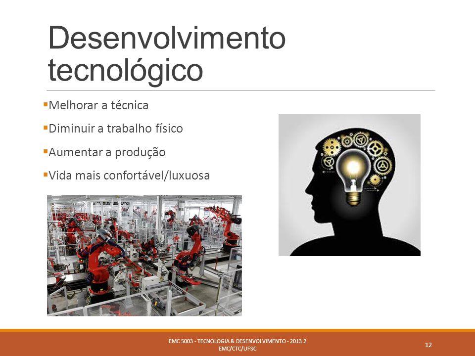 Desenvolvimento tecnológico  Melhorar a técnica  Diminuir a trabalho físico  Aumentar a produção  Vida mais confortável/luxuosa EMC 5003 - TECNOLO