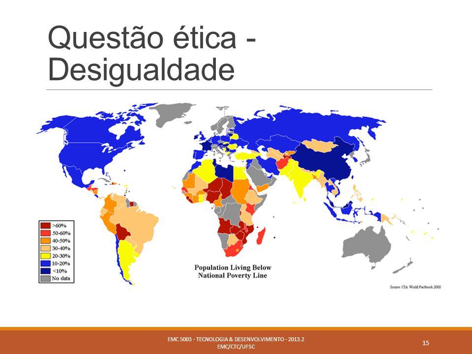 Questão ética - Desigualdade EMC 5003 - TECNOLOGIA & DESENVOLVIMENTO - 2013.2 EMC/CTC/UFSC 15