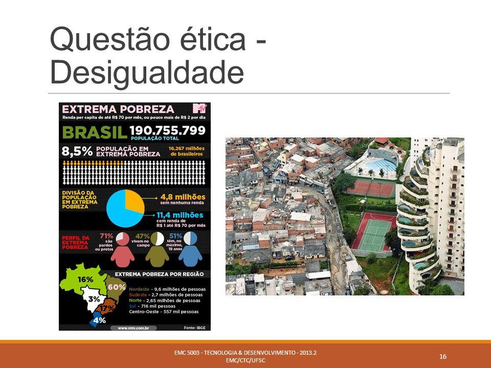 Questão ética - Desigualdade EMC 5003 - TECNOLOGIA & DESENVOLVIMENTO - 2013.2 EMC/CTC/UFSC 16
