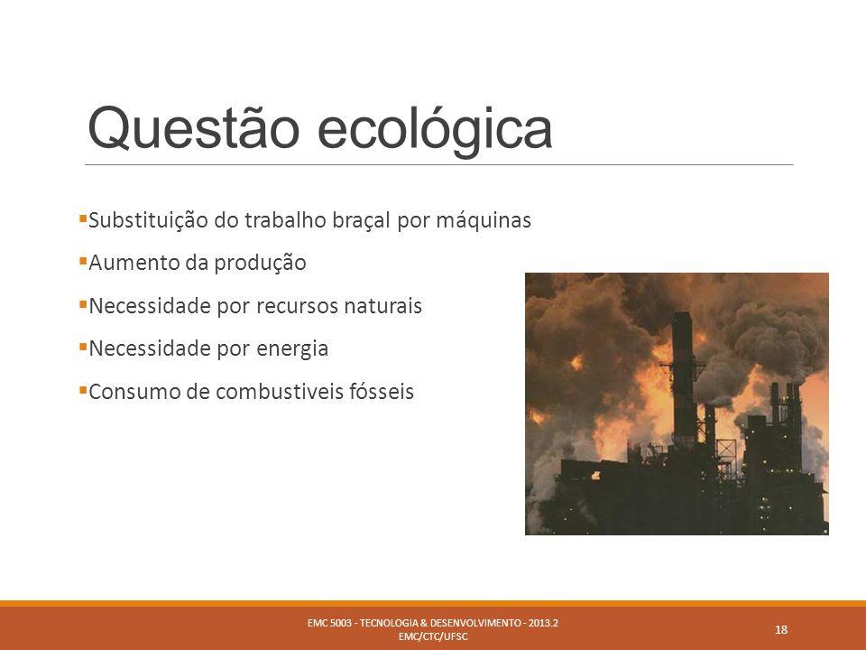 Questão ecológica  Substituição do trabalho braçal por máquinas  Aumento da produção  Necessidade por recursos naturais  Necessidade por energia 