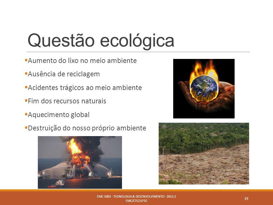 Questão ecológica  Aumento do lixo no meio ambiente  Ausência de reciclagem  Acidentes trágicos ao meio ambiente  Fim dos recursos naturais  Aque