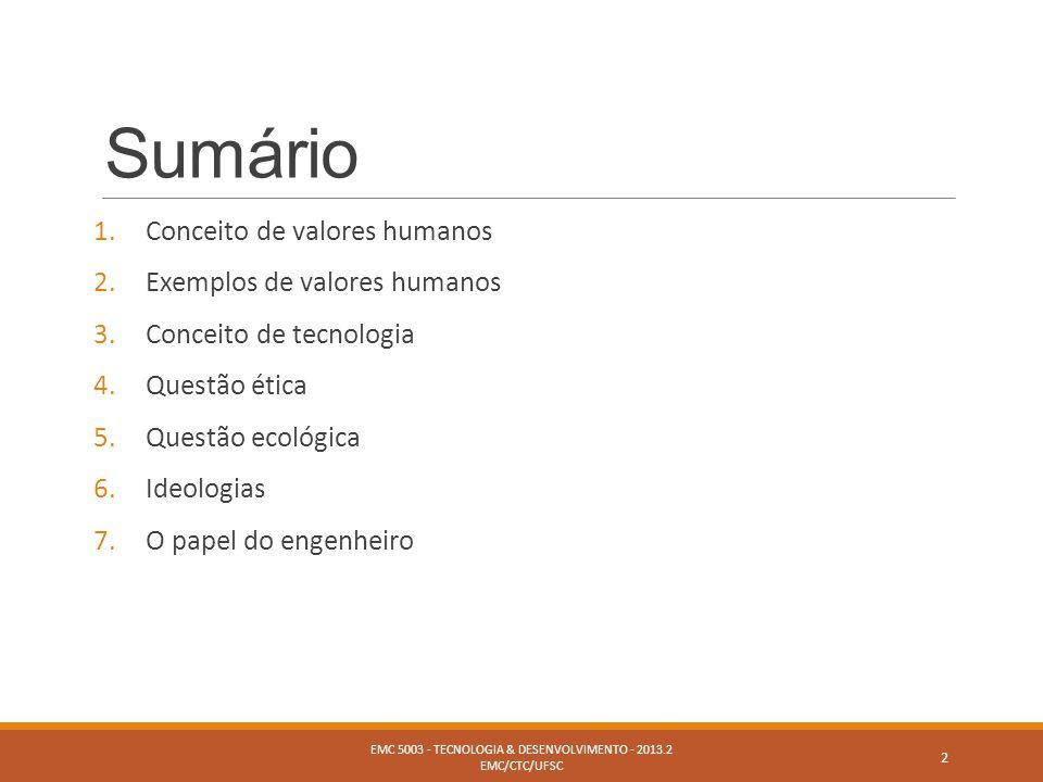 Sumário 1.Conceito de valores humanos 2.Exemplos de valores humanos 3.Conceito de tecnologia 4.Questão ética 5.Questão ecológica 6.Ideologias 7.O pape