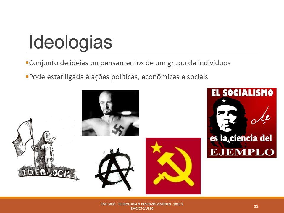Ideologias  Conjunto de ideias ou pensamentos de um grupo de indivíduos  Pode estar ligada à ações políticas, econômicas e sociais EMC 5003 - TECNOL