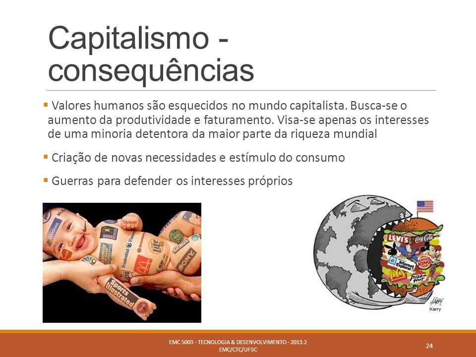 Capitalismo - consequências  Valores humanos são esquecidos no mundo capitalista. Busca-se o aumento da produtividade e faturamento. Visa-se apenas o