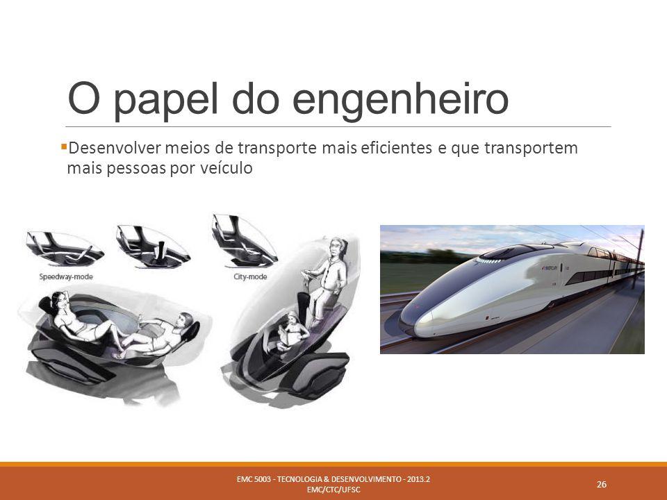 O papel do engenheiro  Desenvolver meios de transporte mais eficientes e que transportem mais pessoas por veículo EMC 5003 - TECNOLOGIA & DESENVOLVIM