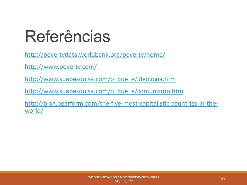 Referências http://povertydata.worldbank.org/poverty/home/ http://www.poverty.com/ http://www.suapesquisa.com/o_que_e/ideologia.htm http://www.suapesq