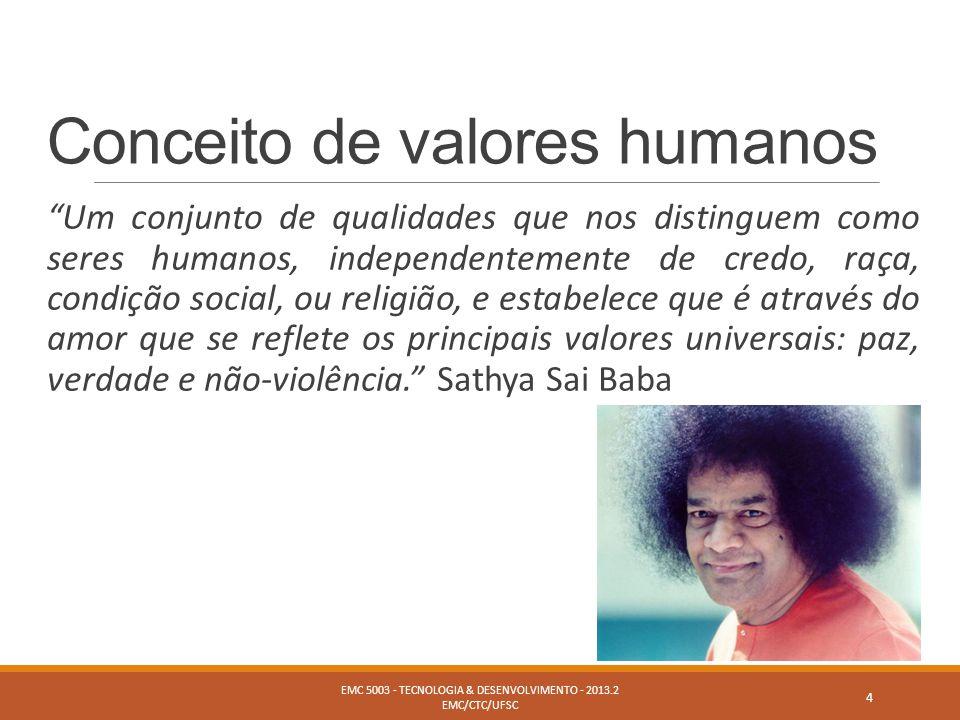 """Conceito de valores humanos """"Um conjunto de qualidades que nos distinguem como seres humanos, independentemente de credo, raça, condição social, ou re"""