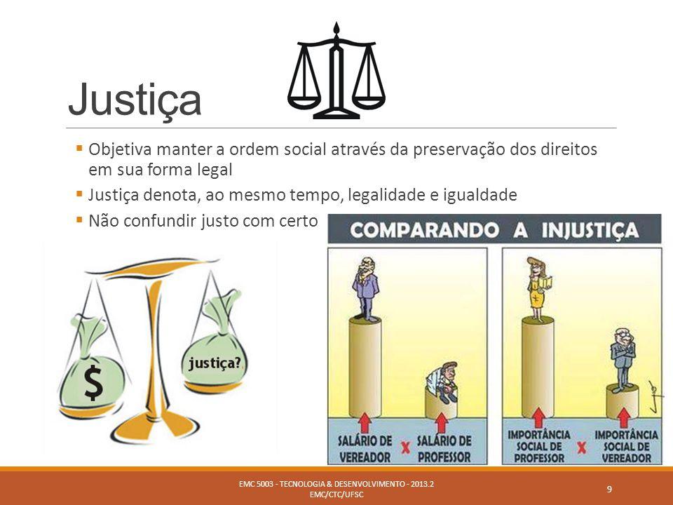 Justiça  Objetiva manter a ordem social através da preservação dos direitos em sua forma legal  Justiça denota, ao mesmo tempo, legalidade e igualda