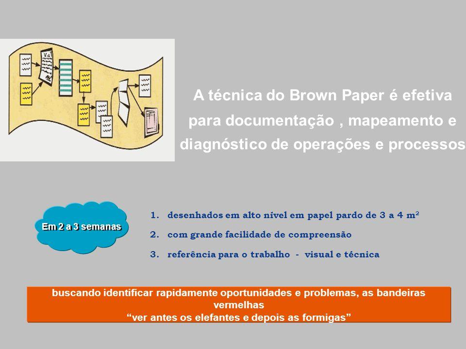 A técnica do Brown Paper é efetiva para documentação, mapeamento e diagnóstico de operações e processos buscando identificar rapidamente oportunidades