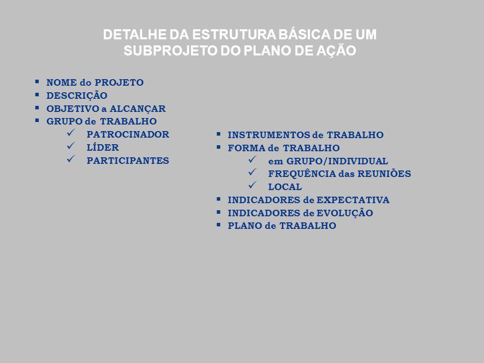  NOME do PROJETO  DESCRIÇÃO  OBJETIVO a ALCANÇAR  GRUPO de TRABALHO PATROCINADOR LÍDER PARTICIPANTES  INSTRUMENTOS de TRABALHO  FORMA de TRABALH
