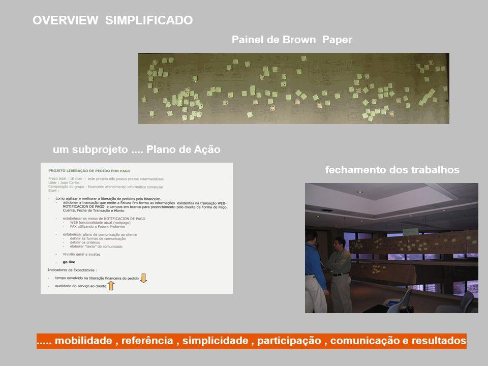 Painel de Brown Paper um subprojeto.... Plano de Ação fechamento dos trabalhos OVERVIEW SIMPLIFICADO..... mobilidade, referência, simplicidade, partic