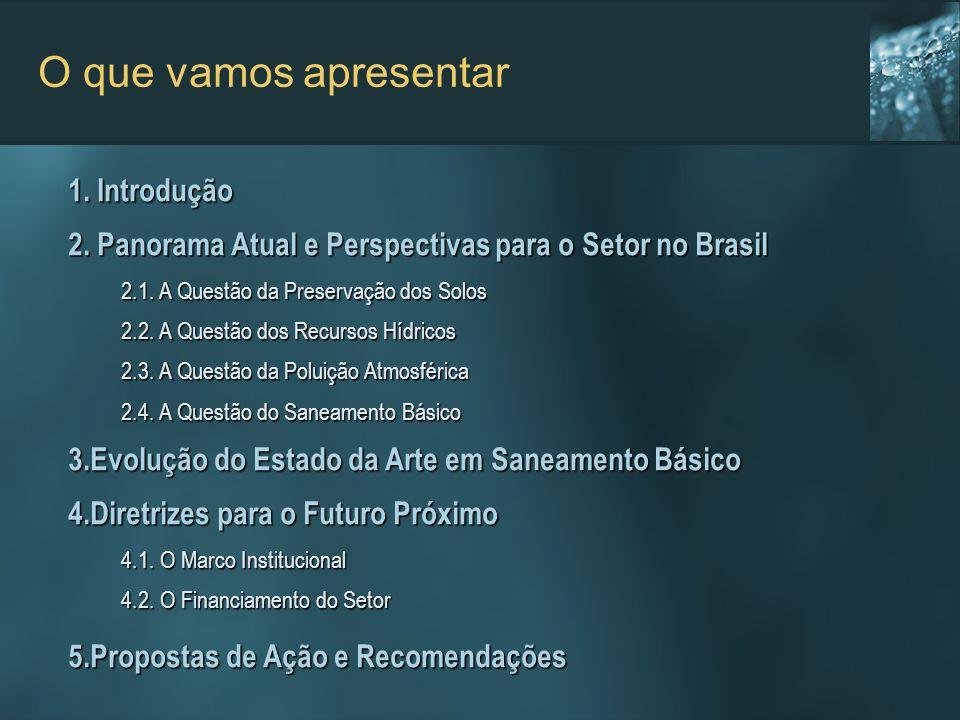 O que vamos apresentar 1. Introdução 2. Panorama Atual e Perspectivas para o Setor no Brasil 2.1. A Questão da Preservação dos Solos 2.1. A Questão da