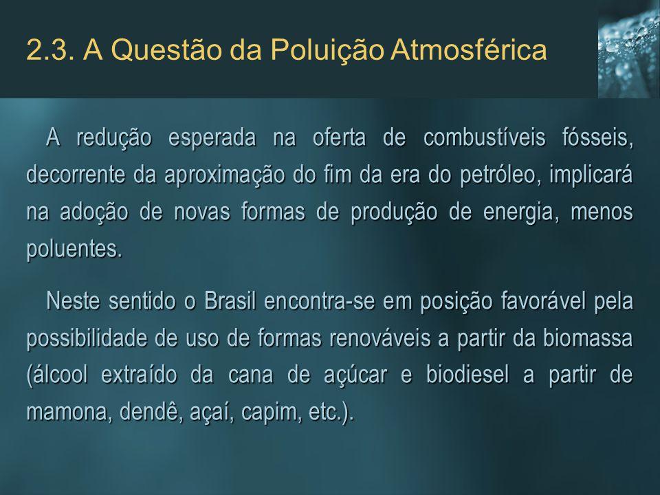 2.3. A Questão da Poluição Atmosférica A redução esperada na oferta de combustíveis fósseis, decorrente da aproximação do fim da era do petróleo, impl