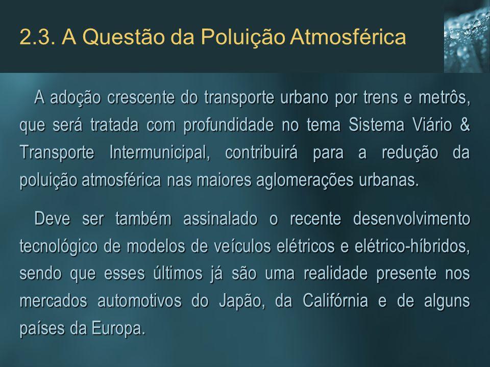 2.3. A Questão da Poluição Atmosférica A adoção crescente do transporte urbano por trens e metrôs, que será tratada com profundidade no tema Sistema V