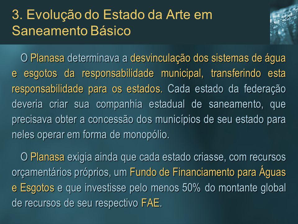 3. Evolução do Estado da Arte em Saneamento Básico O Planasa determinava a desvinculação dos sistemas de água e esgotos da responsabilidade municipal,