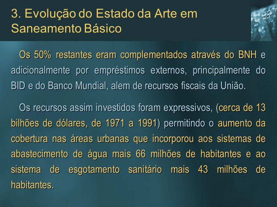 3. Evolução do Estado da Arte em Saneamento Básico Os 50% restantes eram complementados através do BNH e adicionalmente por empréstimos externos, prin