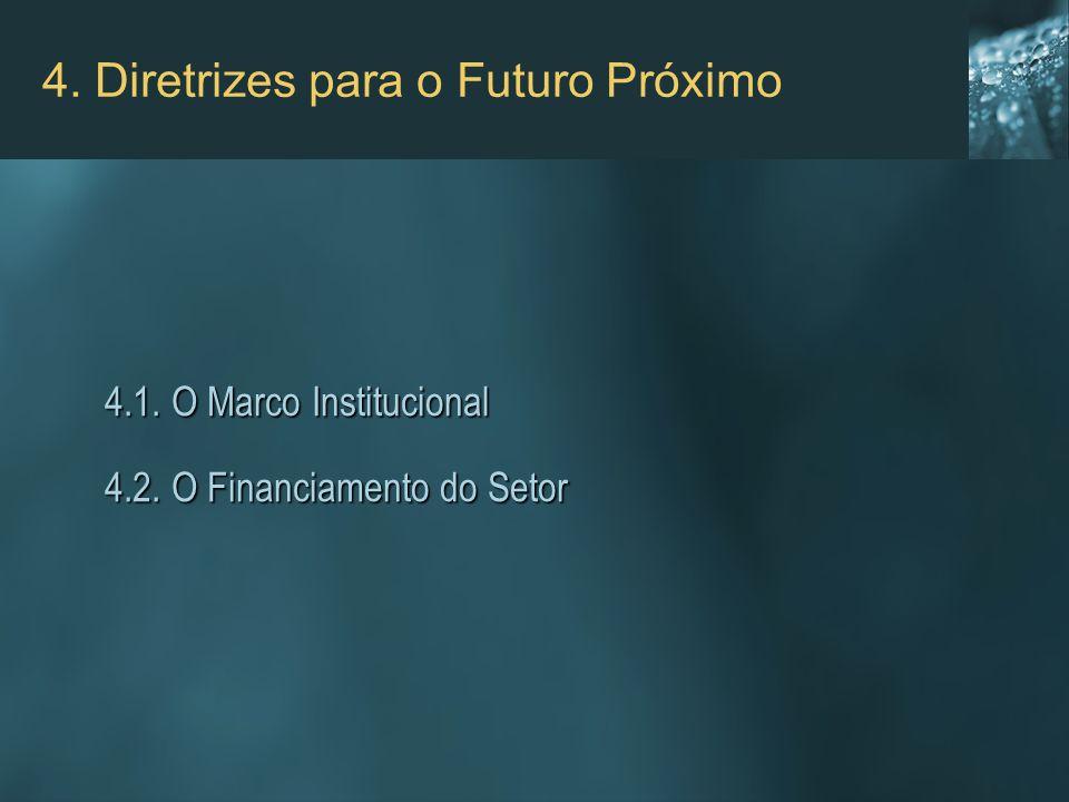 4. Diretrizes para o Futuro Próximo 4.1. O Marco Institucional 4.1. O Marco Institucional 4.2. O Financiamento do Setor 4.2. O Financiamento do Setor