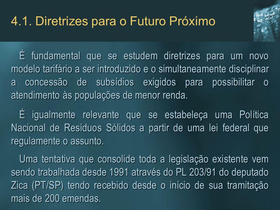 4.1. Diretrizes para o Futuro Próximo É fundamental que se estudem diretrizes para um novo modelo tarifário a ser introduzido e o simultaneamente disc