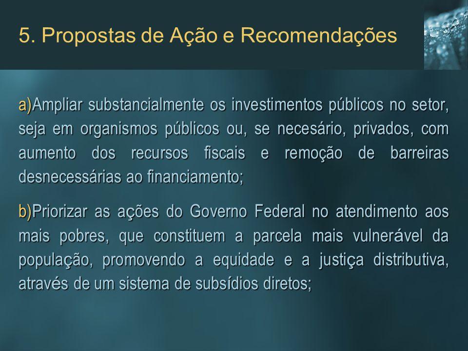 a)Ampliar substancialmente os investimentos públicos no setor, seja em organismos públicos ou, se necesário, privados, com aumento dos recursos fiscai