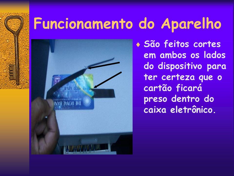 Funcionamento do Aparelho  São feitos cortes em ambos os lados do dispositivo para ter certeza que o cartão ficará preso dentro do caixa eletrônico.