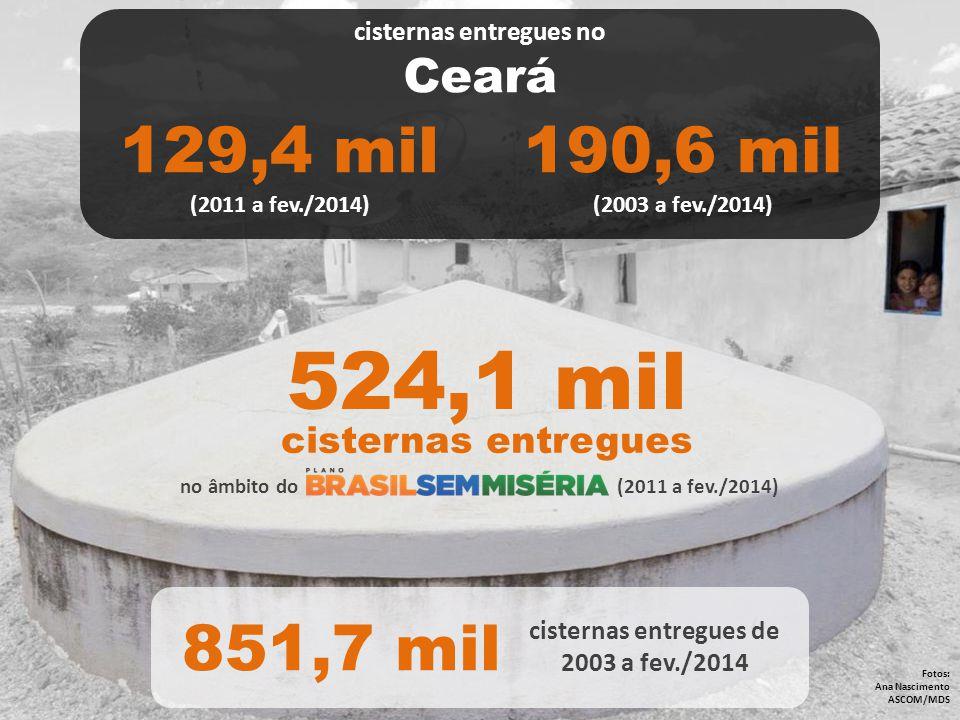 no âmbito do (2011 a fev./2014) Fotos: Ana Nascimento ASCOM/MDS 524,1 mil cisternas entregues 851,7 mil cisternas entregues de 2003 a fev./2014 cister