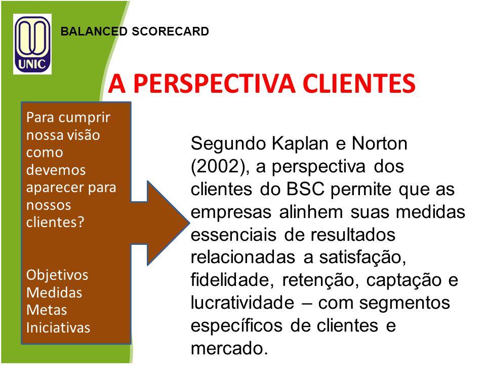 A PERSPECTIVA CLIENTES BALANCED SCORECARD Segundo Kaplan e Norton (2002), a perspectiva dos clientes do BSC permite que as empresas alinhem suas medid