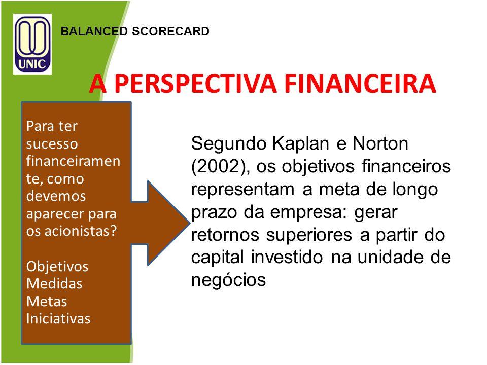 A PERSPECTIVA FINANCEIRA BALANCED SCORECARD Segundo Kaplan e Norton (2002), os objetivos financeiros representam a meta de longo prazo da empresa: ger