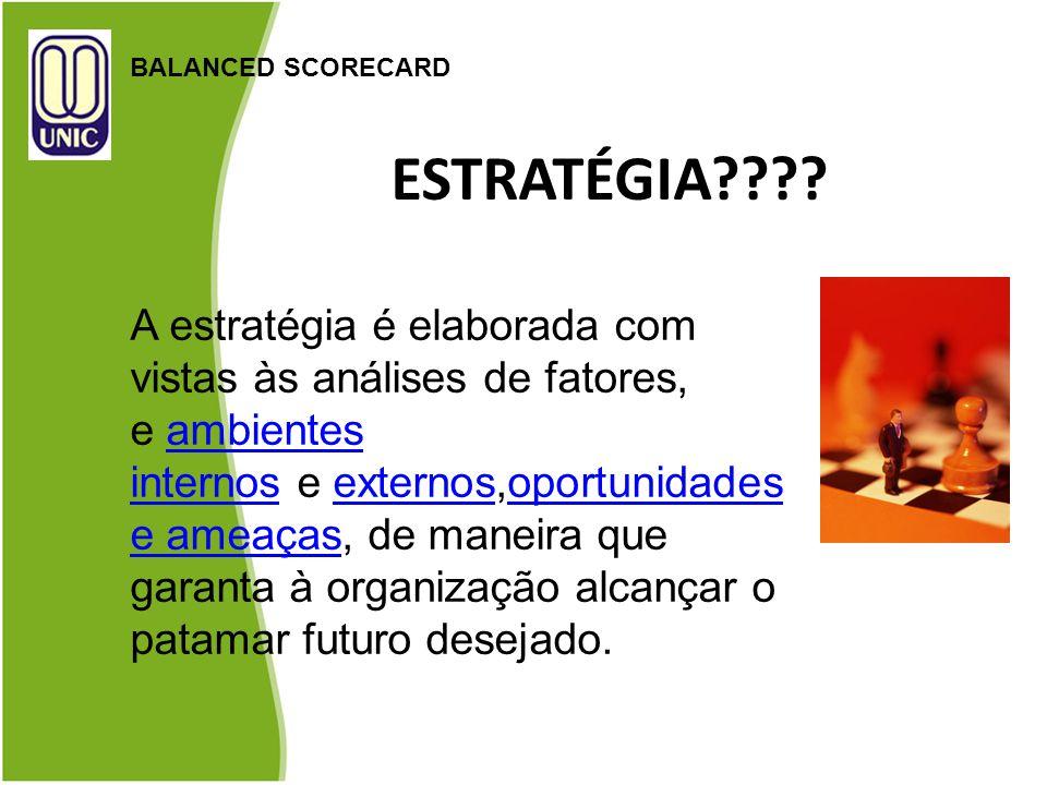 ESTRATÉGIA???? BALANCED SCORECARD A estratégia é elaborada com vistas às análises de fatores, e ambientes internos e externos,oportunidades e ameaças,