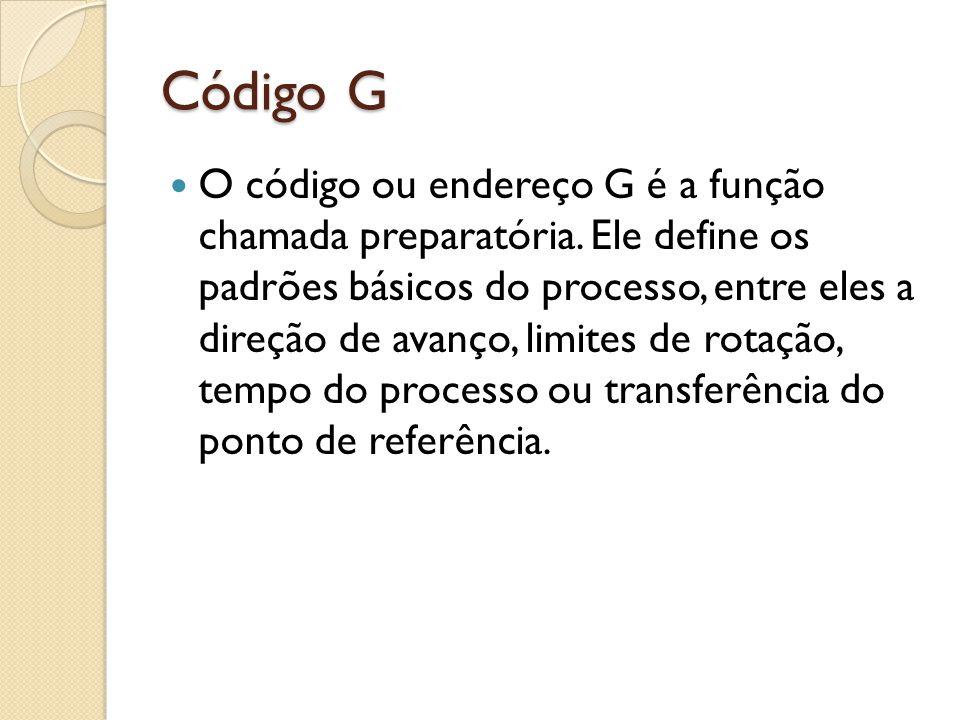 Código G O código ou endereço G é a função chamada preparatória.