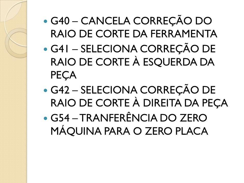 G40 – CANCELA CORREÇÃO DO RAIO DE CORTE DA FERRAMENTA G41 – SELECIONA CORREÇÃO DE RAIO DE CORTE À ESQUERDA DA PEÇA G42 – SELECIONA CORREÇÃO DE RAIO DE CORTE À DIREITA DA PEÇA G54 – TRANFERÊNCIA DO ZERO MÁQUINA PARA O ZERO PLACA