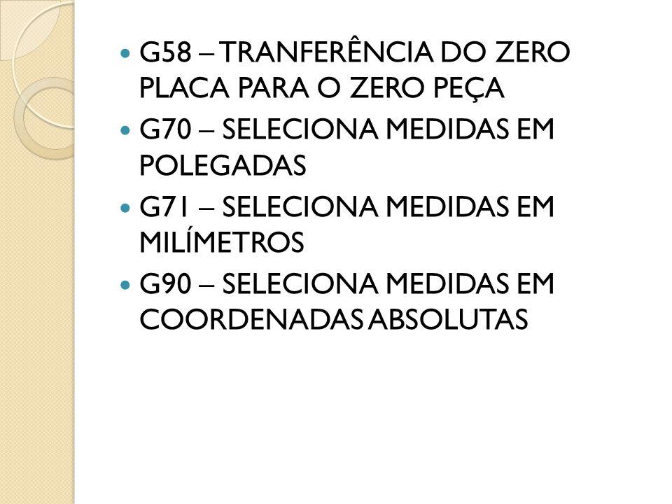 G58 – TRANFERÊNCIA DO ZERO PLACA PARA O ZERO PEÇA G70 – SELECIONA MEDIDAS EM POLEGADAS G71 – SELECIONA MEDIDAS EM MILÍMETROS G90 – SELECIONA MEDIDAS EM COORDENADAS ABSOLUTAS