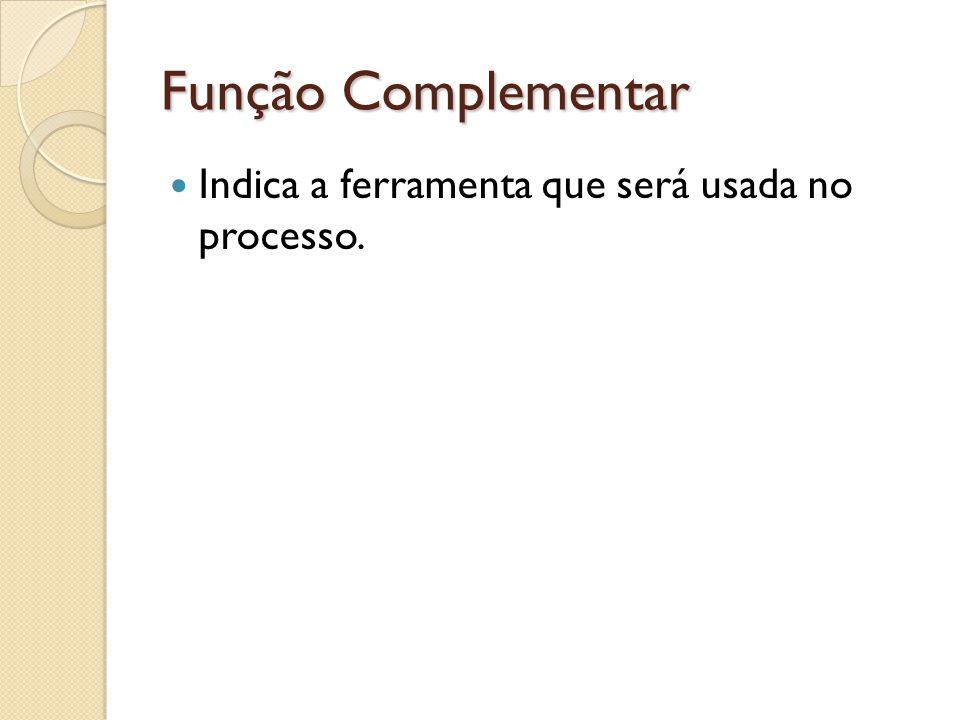 Função Complementar Indica a ferramenta que será usada no processo.
