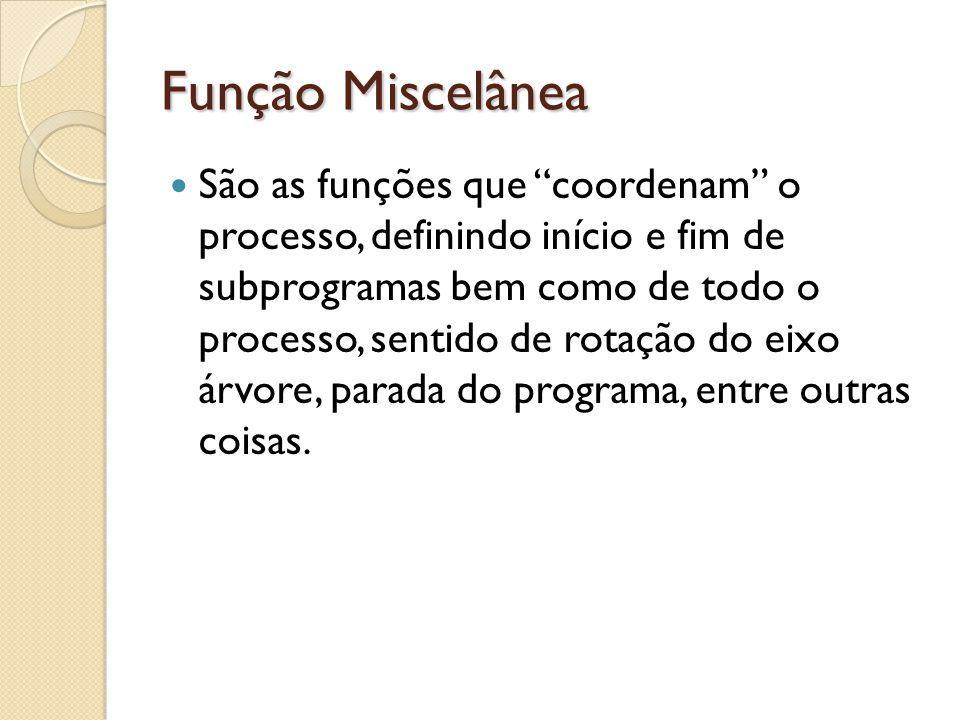 Função Miscelânea São as funções que coordenam o processo, definindo início e fim de subprogramas bem como de todo o processo, sentido de rotação do eixo árvore, parada do programa, entre outras coisas.