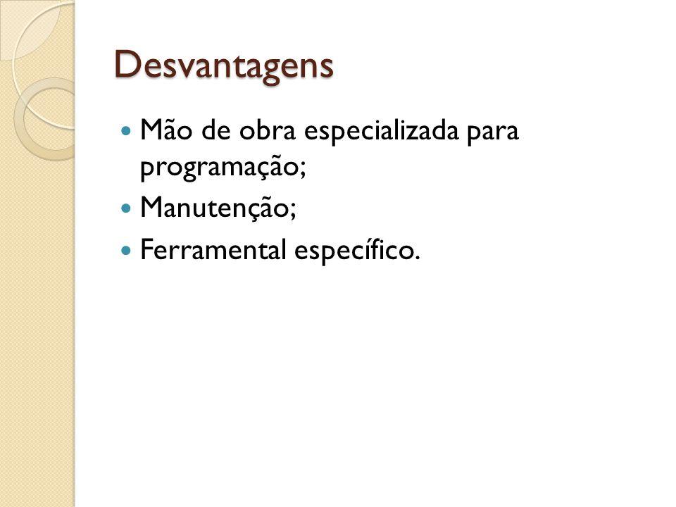 Desvantagens Mão de obra especializada para programação; Manutenção; Ferramental específico.